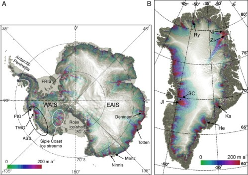 Surface topography and steady-state flow rates for the Antarctic ice sheet. Key locations and features, discussed in the text are labelled. PIG =Pine Island Glacier; TWG = Thwaites Glacier; ASS = Amundsen Sea Sector; FRIS = Filchner Ronne Ice Shelf.