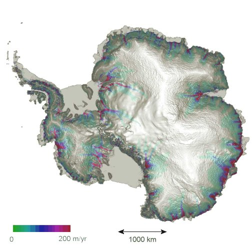 Estimated steady-state velocities for the ice covering Antarctica shown in colour. They are superimposed on a greyscale shaded relief digital elevation model of the ice sheet showing the main drainage basins, ice shelves and ice divides.