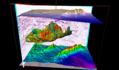 3D Seismic cube from Niger Delta showing thrust fault and site of drilled well