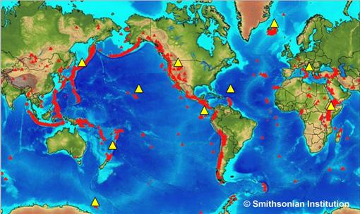 Geological society volcanoes around the world map of the world showing the location of a number of volcanoes gumiabroncs Images