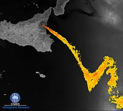 Same eruption of Etna seen by a joint UK-Australian sensor - the Along Track Scanning Radiometer (ATSR) on board the European Space Agency's ERS-2 satellite. The image highlights the volcanic plume against the background of meteorological clouds