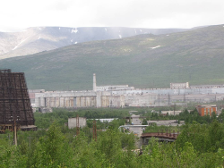 The complex extends a long way into the background and occupies a large area. It is connected by rail (see right foreground) to the rest of Russia.