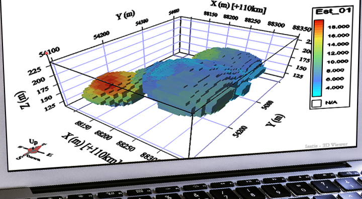 Computer generated 3D model of an ore deposit