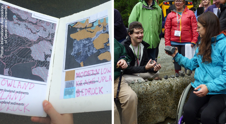 (Left) tactile maps for those with visual impairments, and (Right) geologists at a IAGD event focused on fieldwork availability for all abilities