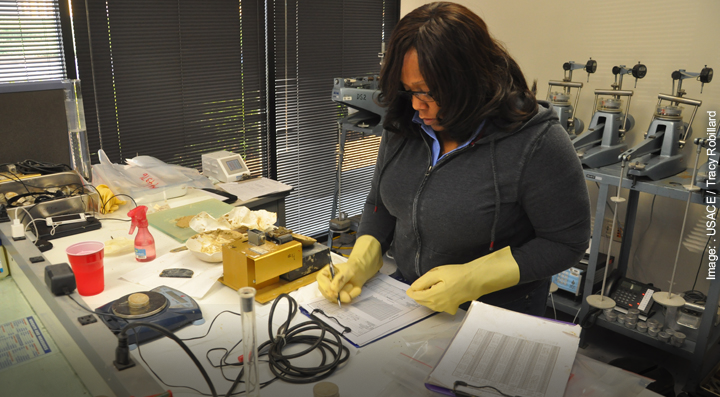 Engineering Geologist in the lab testing soil strength