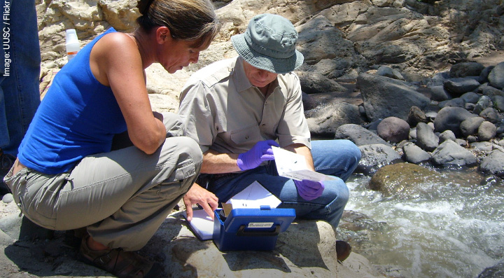 Environmental Geologists monitoring stream pollution
