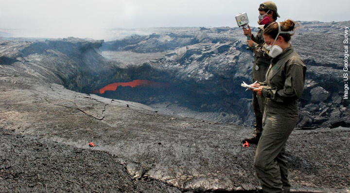 Geologists measure the electrical field across a lava tube to determine the volume of lava flowing through the tube