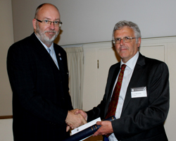 Paul Denton receiving the R.H. Worth Prize