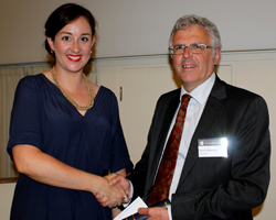 Tracey Aze receiving the Lyell Fund
