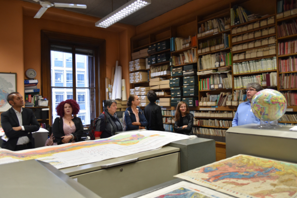 Visitors enjoy the Map Room at the Geological Society, with a talk from the Map Librarian