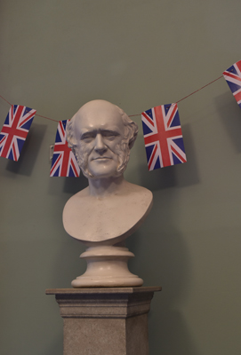 The Lyell Room was decked out in patriotic bunting and wartime music was played