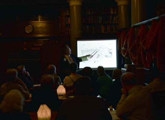 Dr Nield describes the geological section and reveals the answers (with spirited debate from the audience!).
