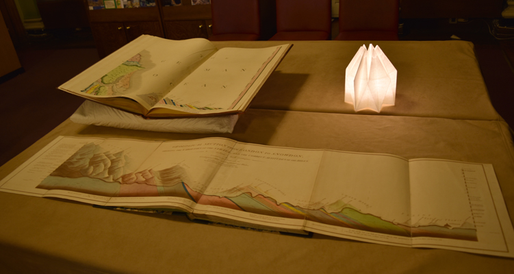 The Library's copies of William Smith's 1815 map and section of London to Snowdon on display
