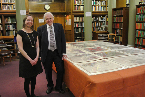 Sir David Attenborough at the Bicentenary launch on 23rd March 2015, with Victoria Woodcock, former Archive Assistant, who discovered the map
