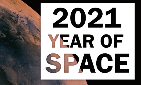 Text reading 2021 year of space sitting over an image of a red tinted planet and black background