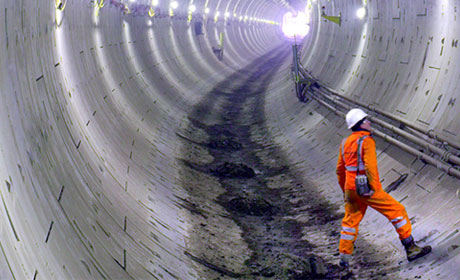 Man at work in tunnel